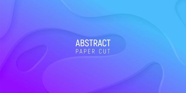 3d abstrato com papel roxo e azul corta ondas gradientes