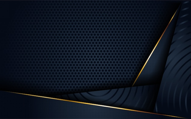 3d abstrato escuro moderno com forma de linha circular e dourada.