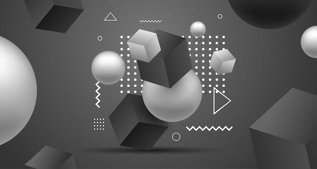 3d abstrato geométrico fundo preto e branco