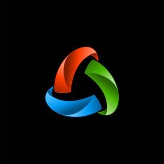 3d abstrato triângulo colorfull logotipo