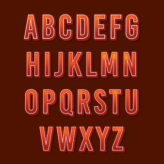 3d alfabeto retrô
