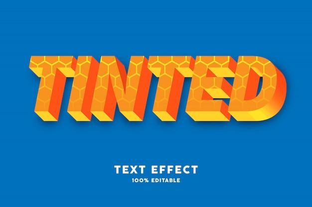 3d amarelo com efeito de texto de padrão de hexágono