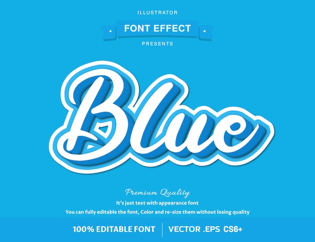 3d azul - efeito de fonte editável fácil