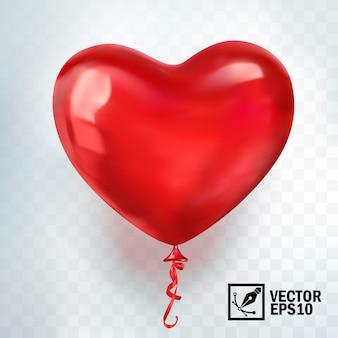 3d balão vermelho realista em forma de coração
