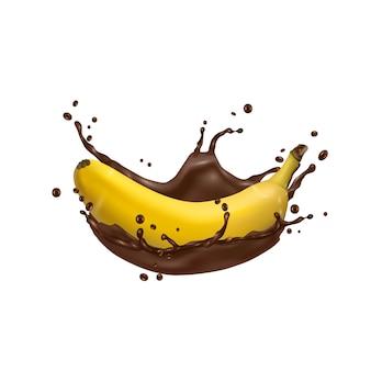 3d banana e respingo de chocolate, ícone do vetor
