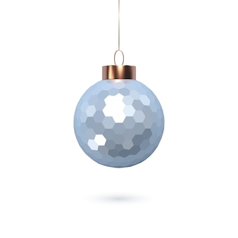 3d bola azul brilhante de natal