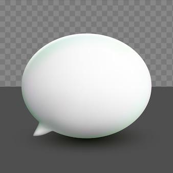3d bolhas brancas mínimas de bate-papo em fundo transparente