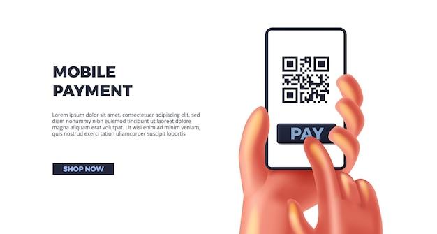 3d bonito mão segurando o smartphone para pagamento móvel. sociedade sem dinheiro, código qr para exibição de finanças de produto de pagamento de tag para bancos
