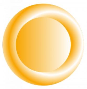 3d botão laranja circular