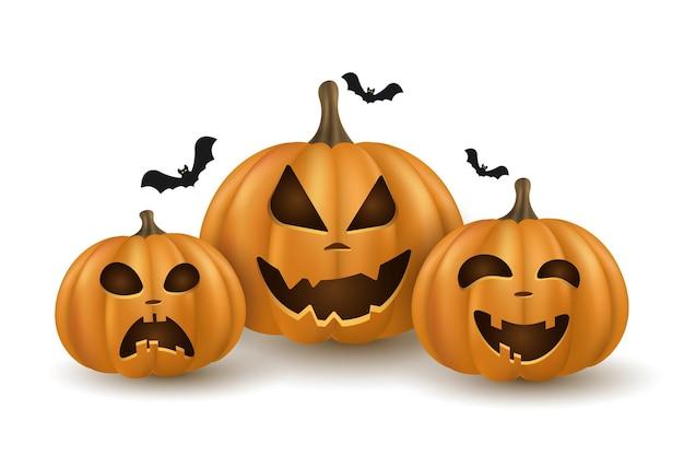 3d cartoon emocional abóboras com morcego em fundo branco para o feriado de halloween. abóbora laranja com sorriso. personagens festivos em quadrinhos. ilustração vetorial