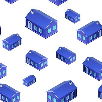 3d casas padrão de sem costura