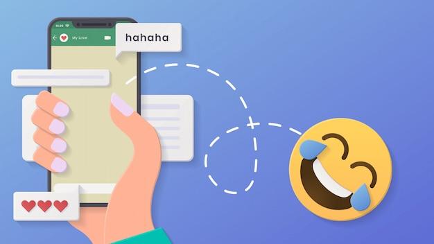 3d chat conversa fundo mínimo rosto lágrimas de alegria com estilo de corte de papel e design