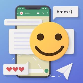 3d chat conversação fundo mínimo rosto ligeiramente sorridente com estilo de corte de papel e design