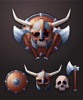 3d conjunto de ilustração de distintivo viking