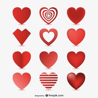 3d corações vetores