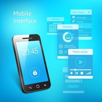 3d de um smartphone ou telefone celular moderno com uma tela azul mostrando as horas