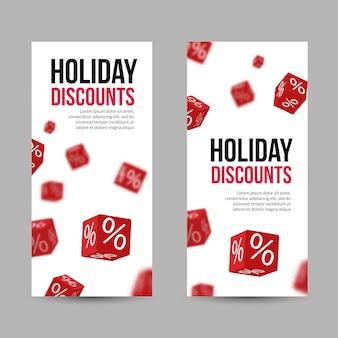 3d desconto férias venda vermelho caixa banners