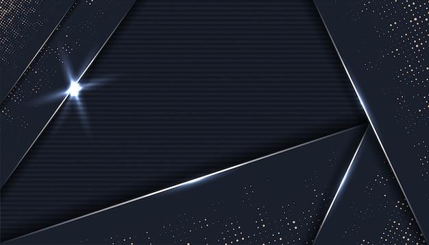 3d design geométrico abstrato com fundo de camadas de papel preto