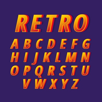 3d design retro para alfabeto