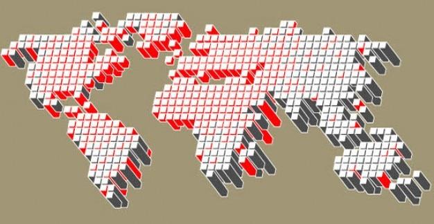 3d dotted mundial ilustração vetor mapa