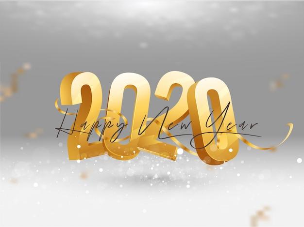 3d dourado 2020 com cartão de felicitações de fita de confete