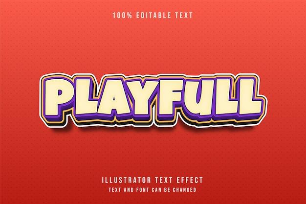 3d editável efeito de texto amarelo roxo padrão cômico estilo em relevo