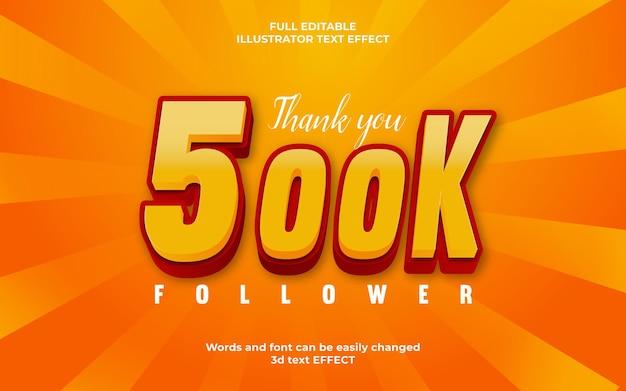 3d editável, obrigado 500 mil seguidores efeito de estilo de texto gradiente
