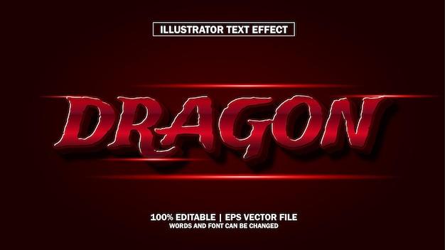 3d efeito de texto dragão editável premium