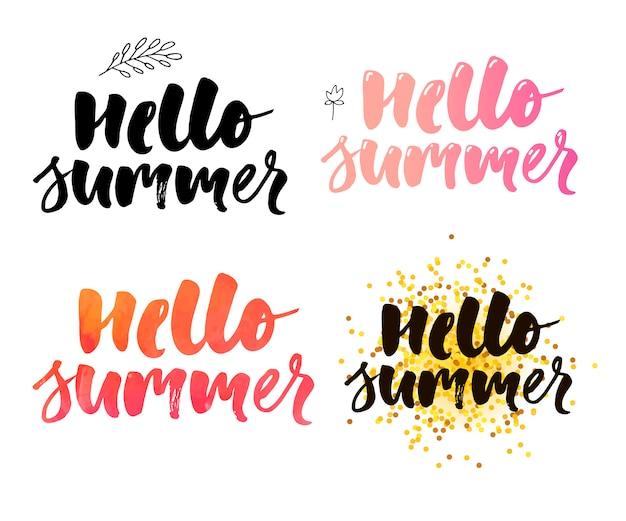 3d: escova letras composição do slogan de férias de verão olá verão conjunto Vetor Premium