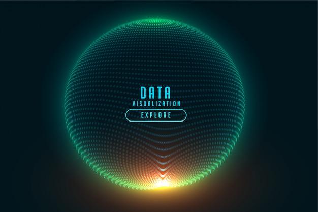 3d esfera de partículas brilhante tecnologia digital design