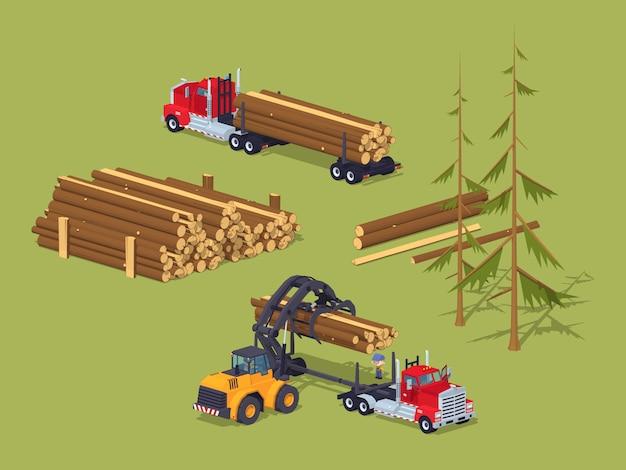 3d estoque de madeira serrada lowpoly isométrica