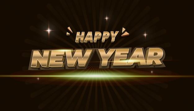 3d feliz ano novo ouro com efeito de texto de estilo