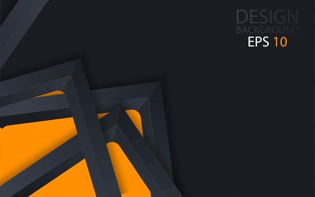 3d fundo abstrato com camadas de papel preto.