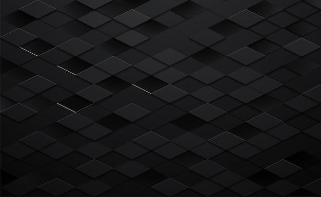 3d fundo quadrado preto