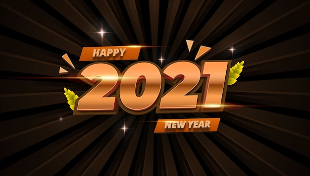 3d gold feliz ano novo 2021