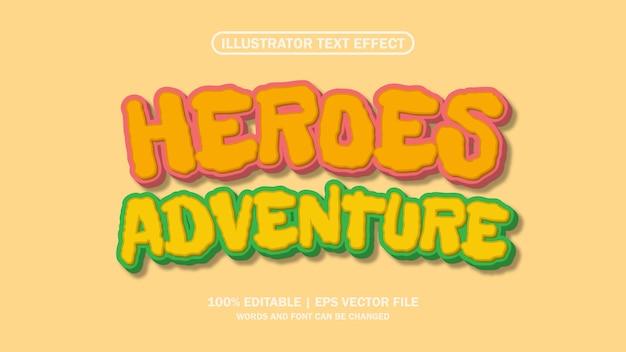 3d heroes aventura efeito de texto editável premium
