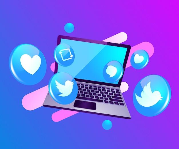 3d ícone de mídia social com laptop dekstop