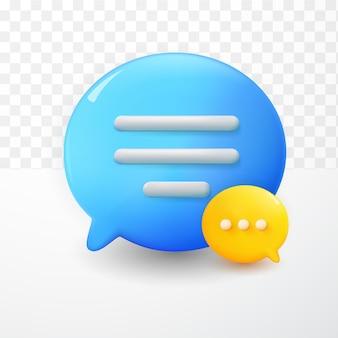 3d ícone de texto de bolhas de bate-papo amarelo azul mínimo em fundo branco de transparnet. conceito de mensagens de mídia social