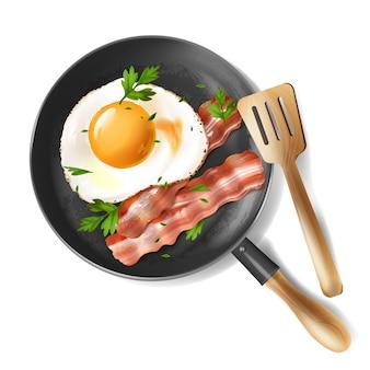 3d ilustração realista de ovos fritos com tiras de bacon assadas e salsa verde