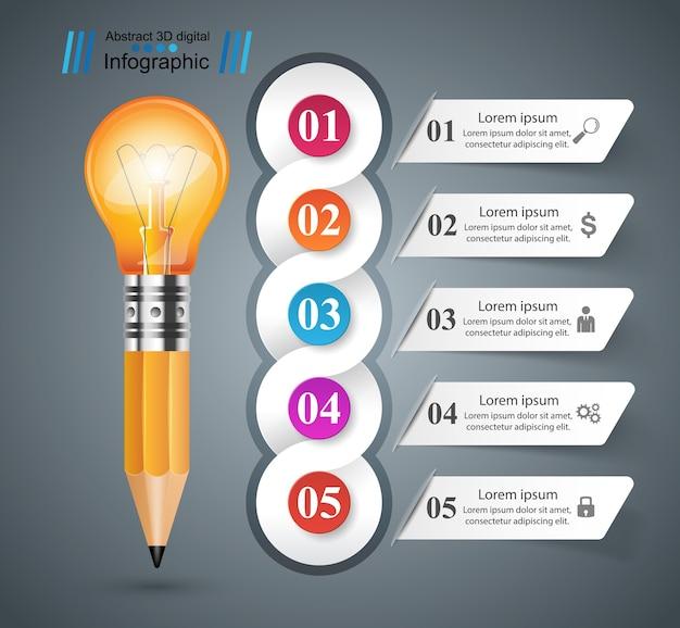 3d infographic. ícone de lâmpada e lápis.