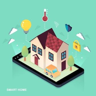 3d isometric flat design conceito de casa inteligente / iot