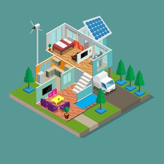3d isométrica moderna eco verde casa