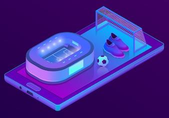 3d isométrica smartphone com estádio de futebol