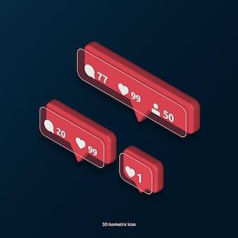 3d isométrico amor como ícone de tag de comentário do instagram