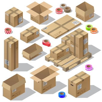 3d isométrico conjunto de embalagens de papelão