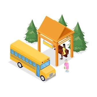3d isométrico de ponto de ônibus