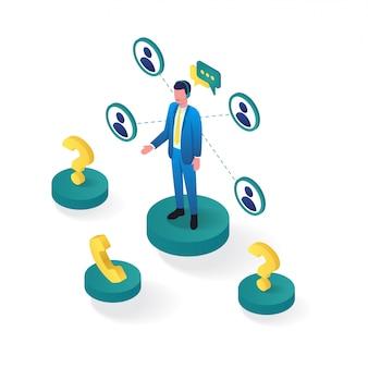 3d isométrico de suporte ao cliente on-line