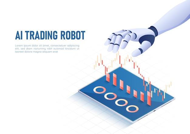 3d isométrico web banner ai artificial intelligence mão controlando gráfico e gráfico do mercado de ações. tecnologia de análise de inteligência artificial ai e conceito de aprendizado de máquina.