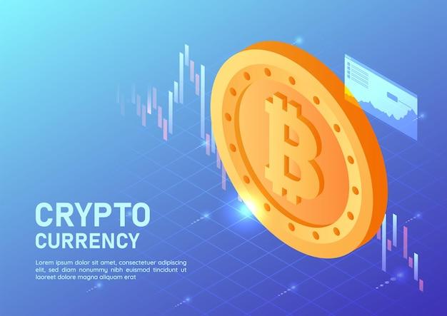 3d isométrico web banner bitcoin dourado com gráfico do mercado de ações virtual. conceito de criptomoeda.