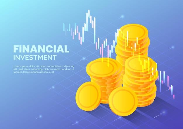 3d isométrico web banner moeda de dinheiro dourado com gráfico de negociação do mercado de ações. conceito financeiro e de investimento.